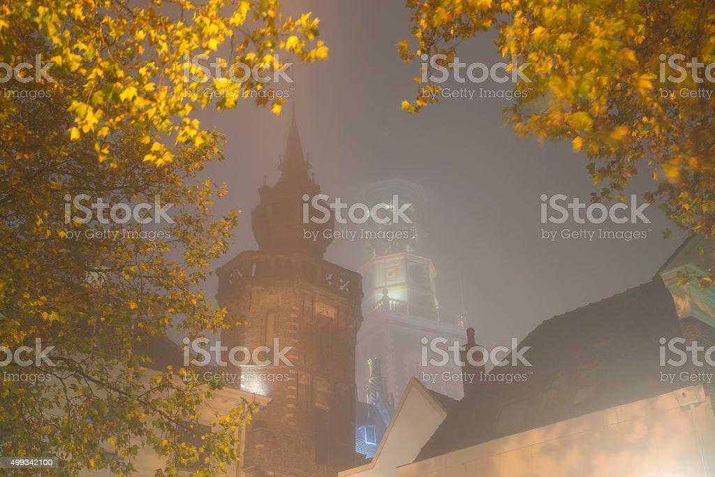 Nieuwe Toren (New Tower) in Kampen at night stock photo
