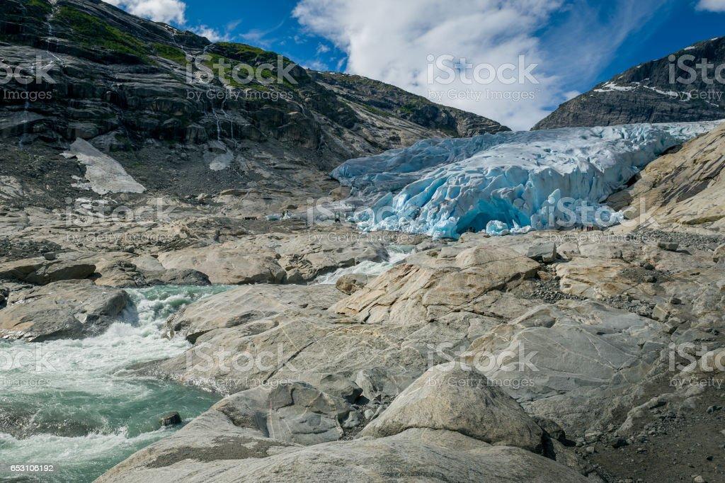 Nigardsbreen Glacier river stock photo