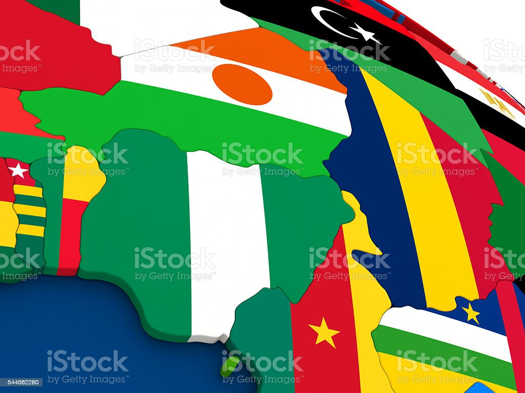 Niger and Nigeria on globe with flags stock photo