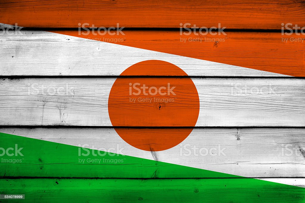 Niger Flag on wood background stock photo