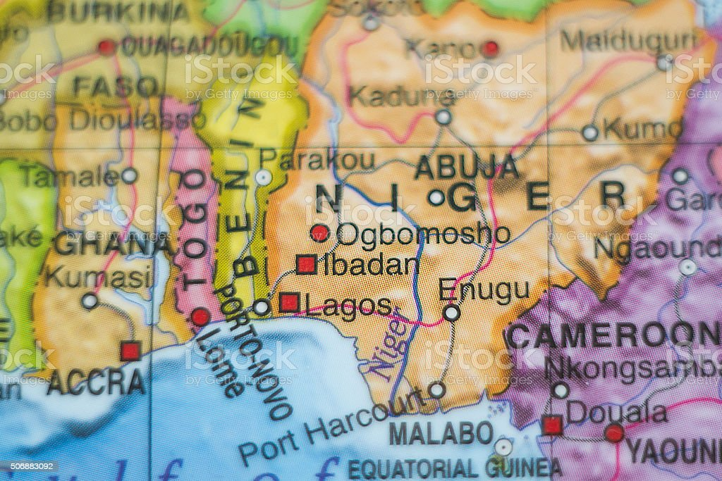 Nigeria country map . stock photo