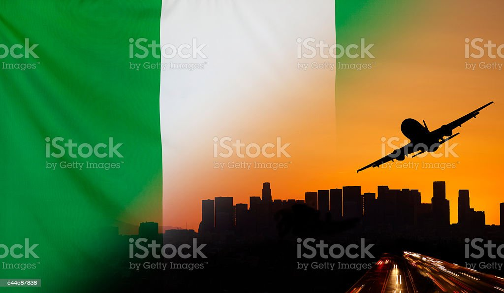 Nigeria fabric Flag Travel and Transport Concept stock photo