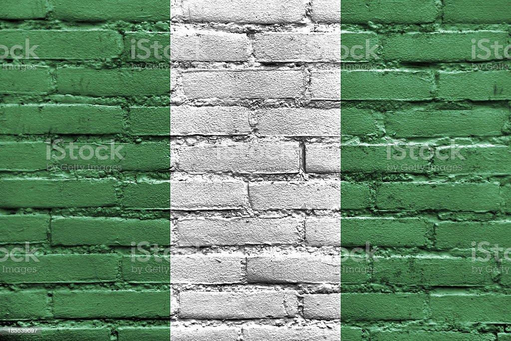 Nigeria Flag painted on brick wall royalty-free stock photo