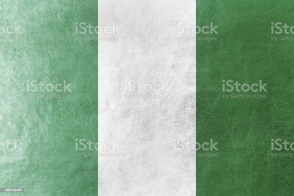 Nigeria Flag painted on leather texture royalty-free stock photo