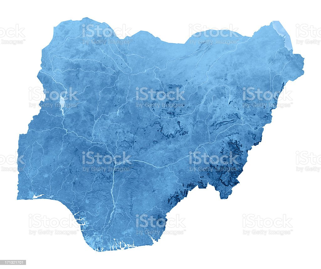 Nigeria Topographic Map Isolated stock photo