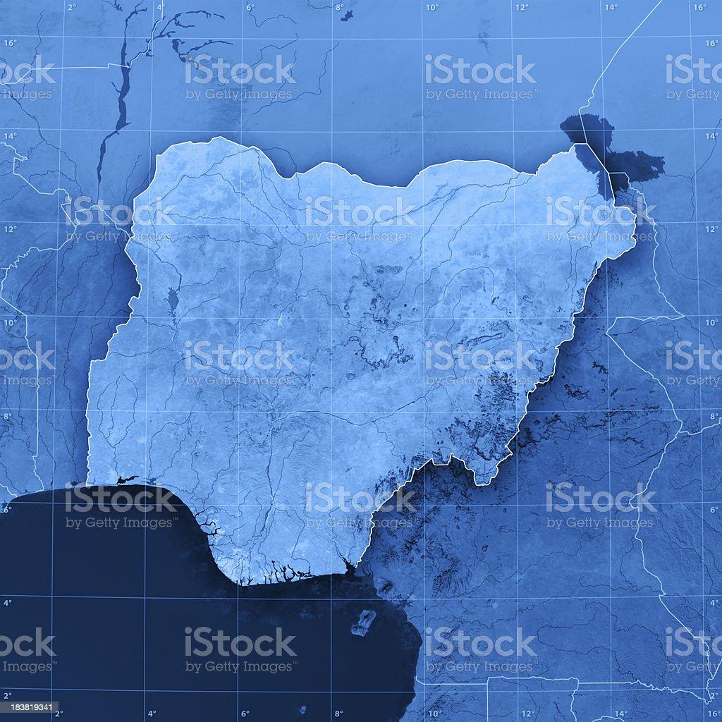 Nigeria Topographic Map stock photo
