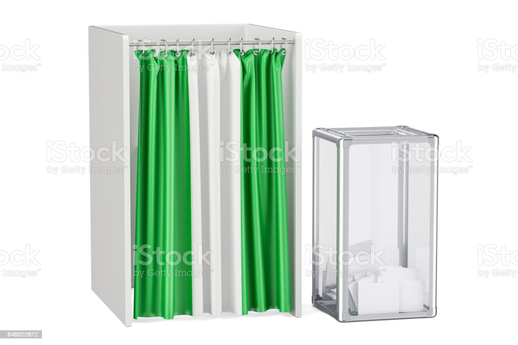 Nigerian election concept, ballot box and voting booths with flag of Nigeria, 3D rendering isolated on white background stock photo