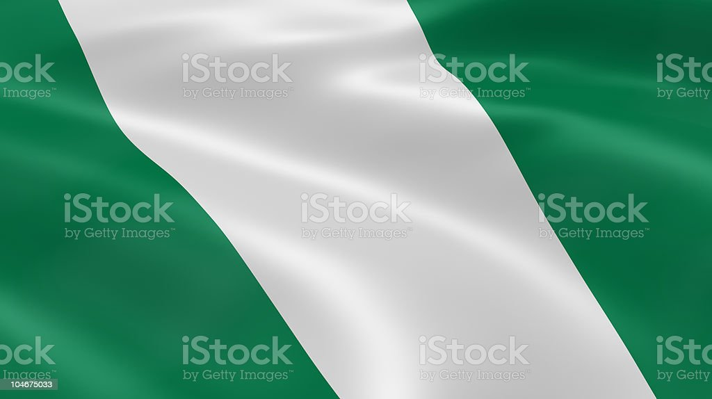 Nigerian flag in the wind royalty-free stock photo