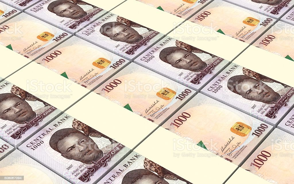 Nigerian nairas bills stacks background. stock photo