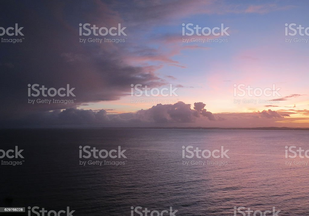 Nigh falls on the Bay of All Saints in Brazil stock photo