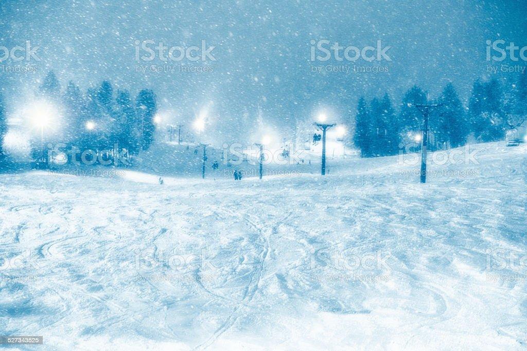 Nigh Skiing At A Ski Resort stock photo
