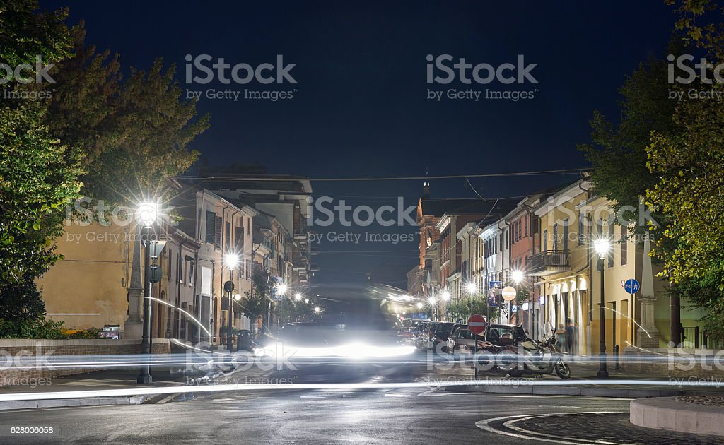 Night 20th September 1870 Street in Rimini, Italy. stock photo
