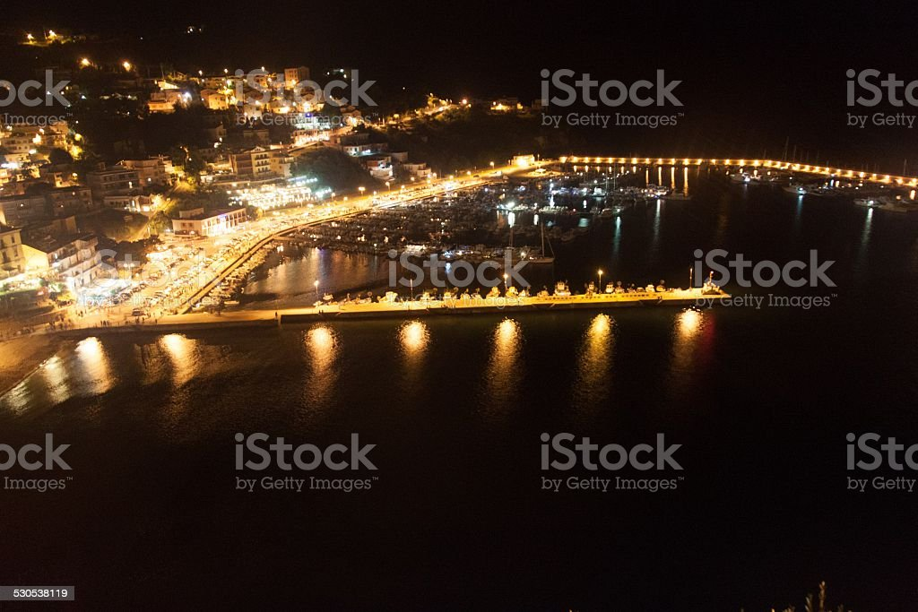Night aerial view of a harbor in Agropol stock photo