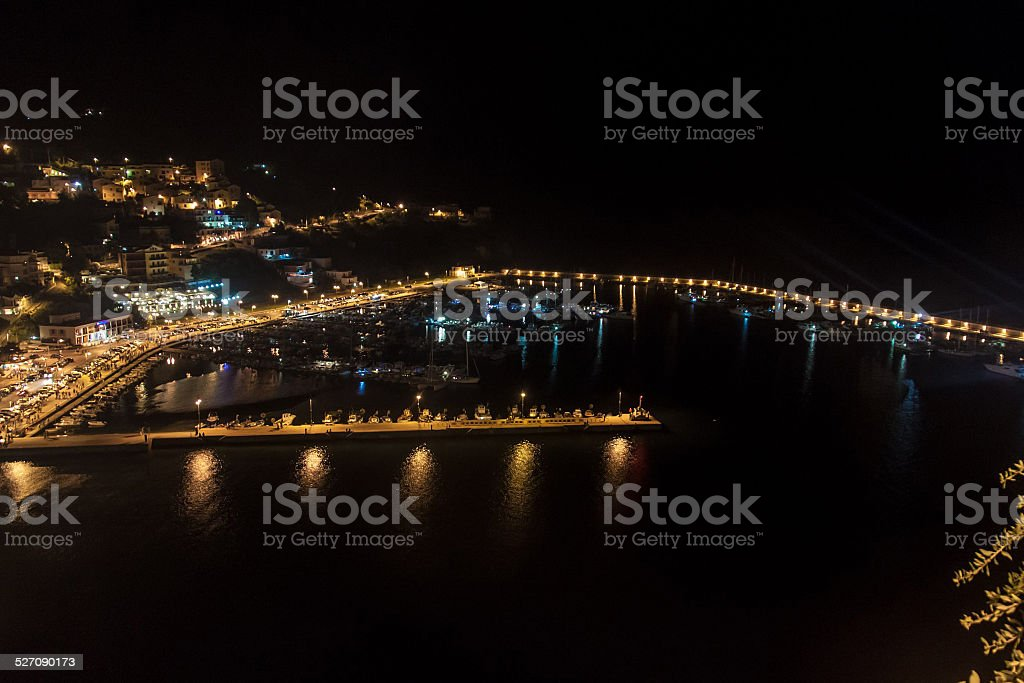 Night aerial view of a harbor in Agropoli stock photo