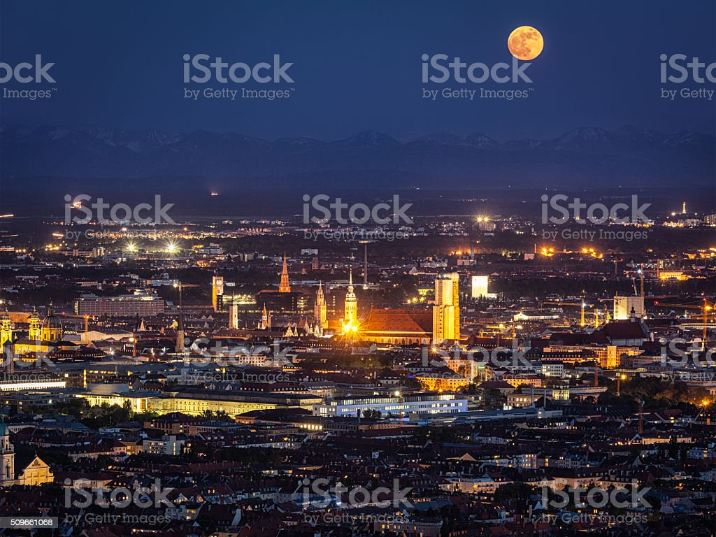 Night aerial view of Munich, Germany stock photo