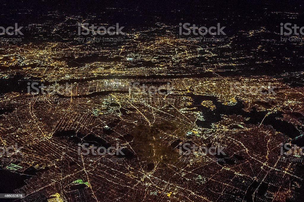 Night Aerial View of New York stock photo