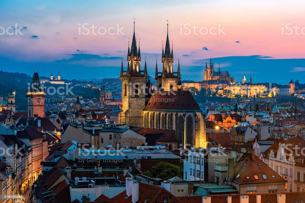 Night aerial view of Prague old town stock photo