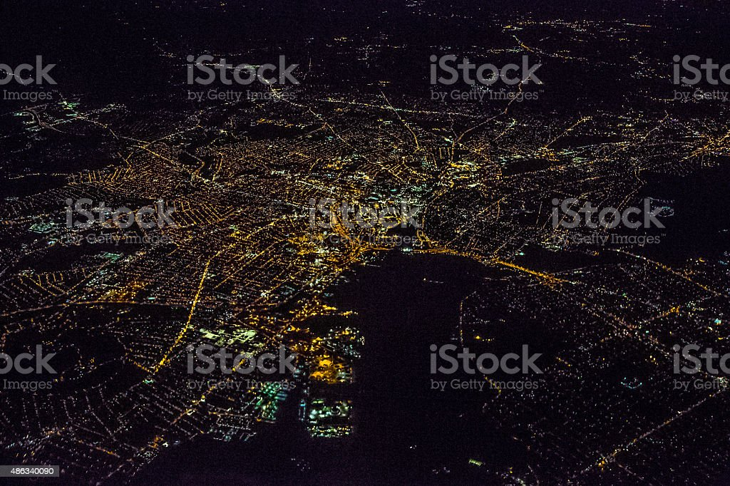 Night Aerial View of Providence stock photo