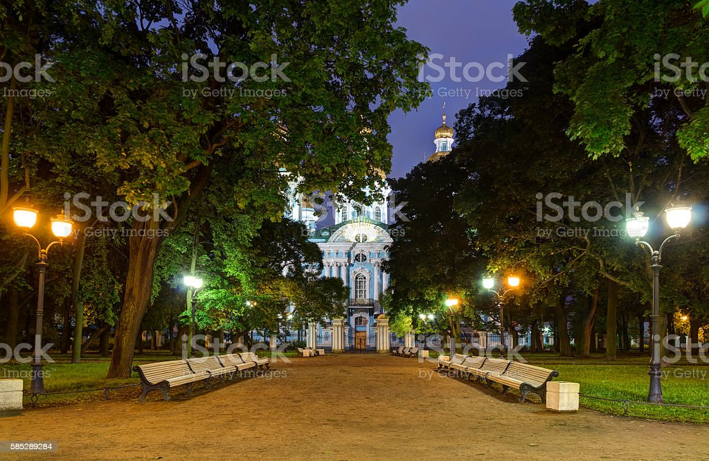 Night alley in Nikolsky garden and St. Nicholas Naval Cathedral stock photo