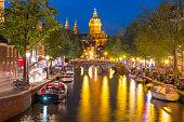 Night Amsterdam red-light district De Wallen