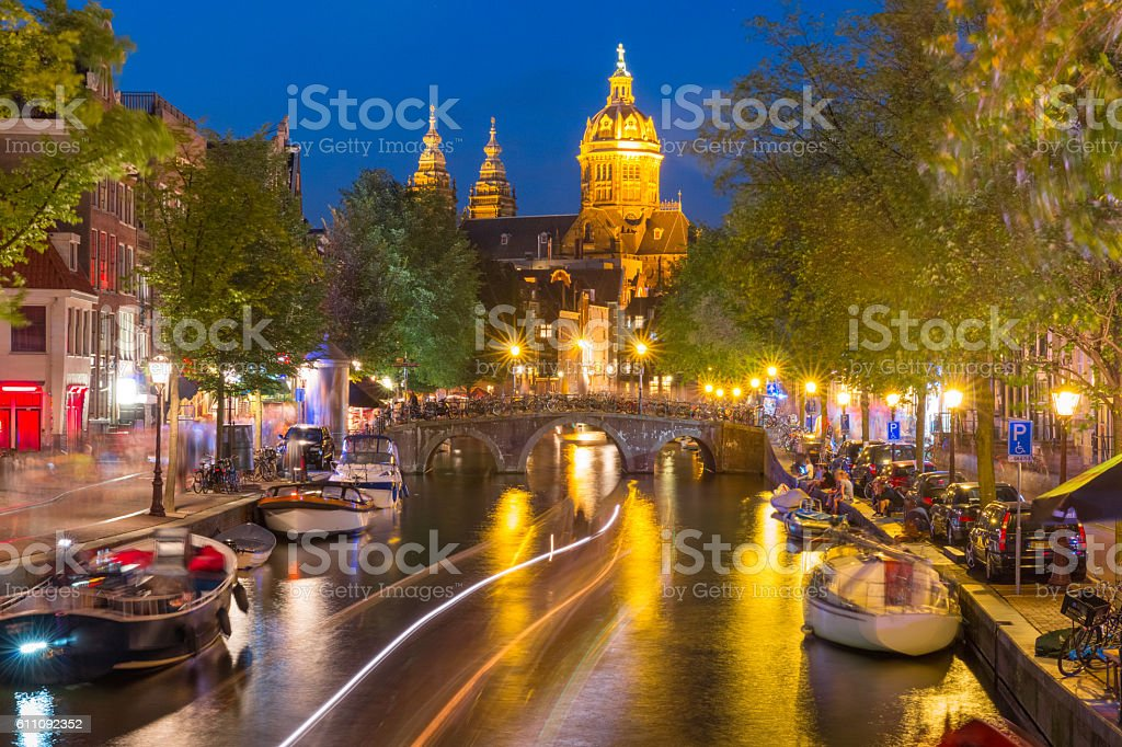 Night Amsterdam red-light district De Wallen stock photo