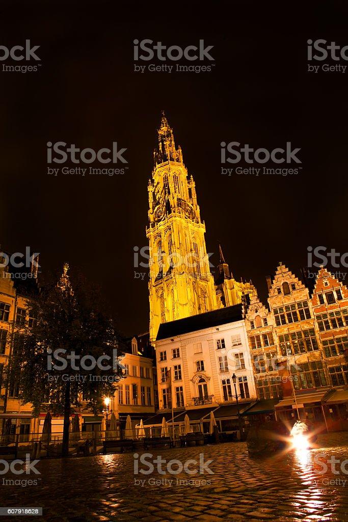 Night  Antwerp architecture stock photo