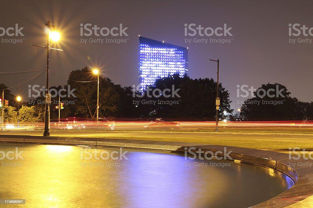 Night at Benjamin Franklin Parkway stock photo