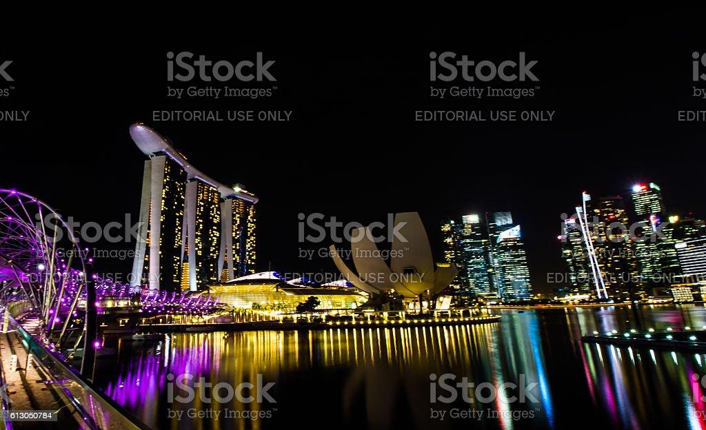 Night at Marina bay stock photo