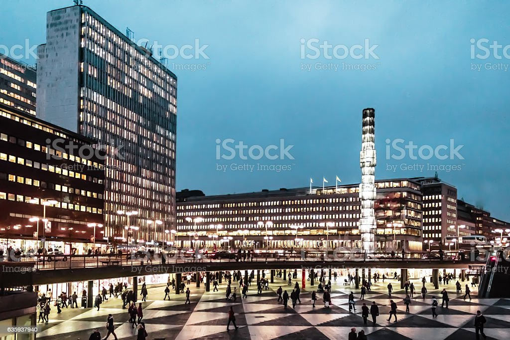 Night at Sergel's Square (Sergels Torg) in Stockholm, Sweden stock photo