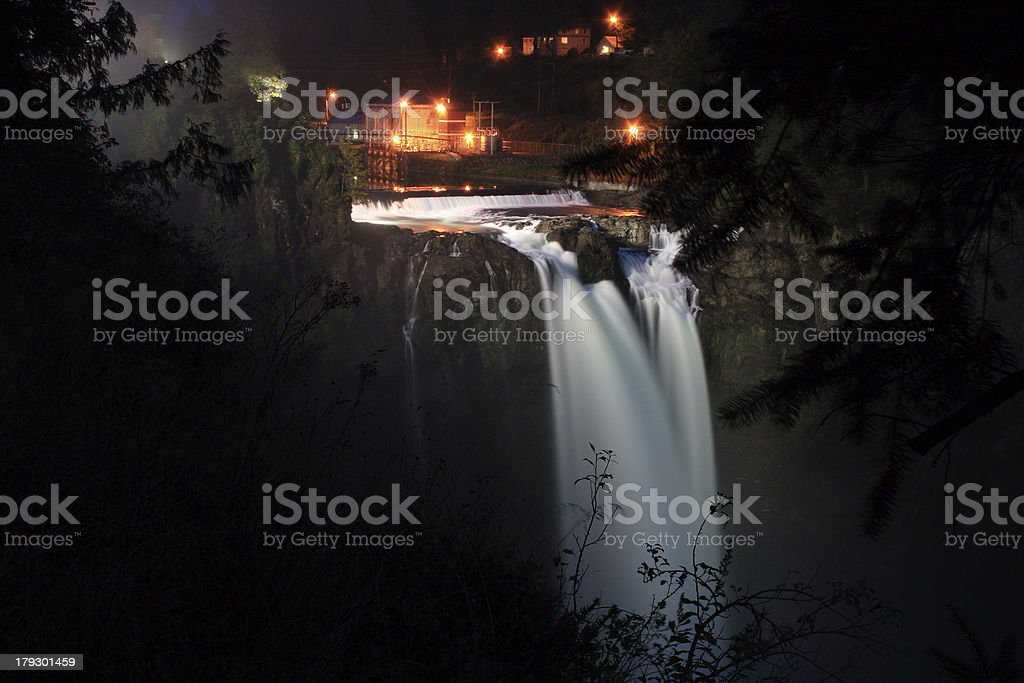 Night at Snoqualmie Falls royalty-free stock photo