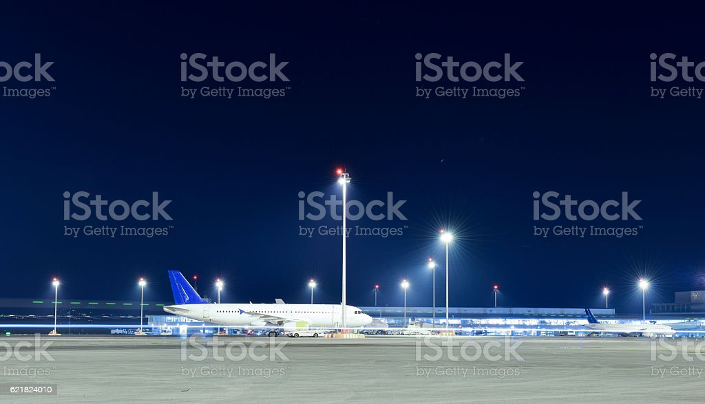 Night at the airport. stock photo
