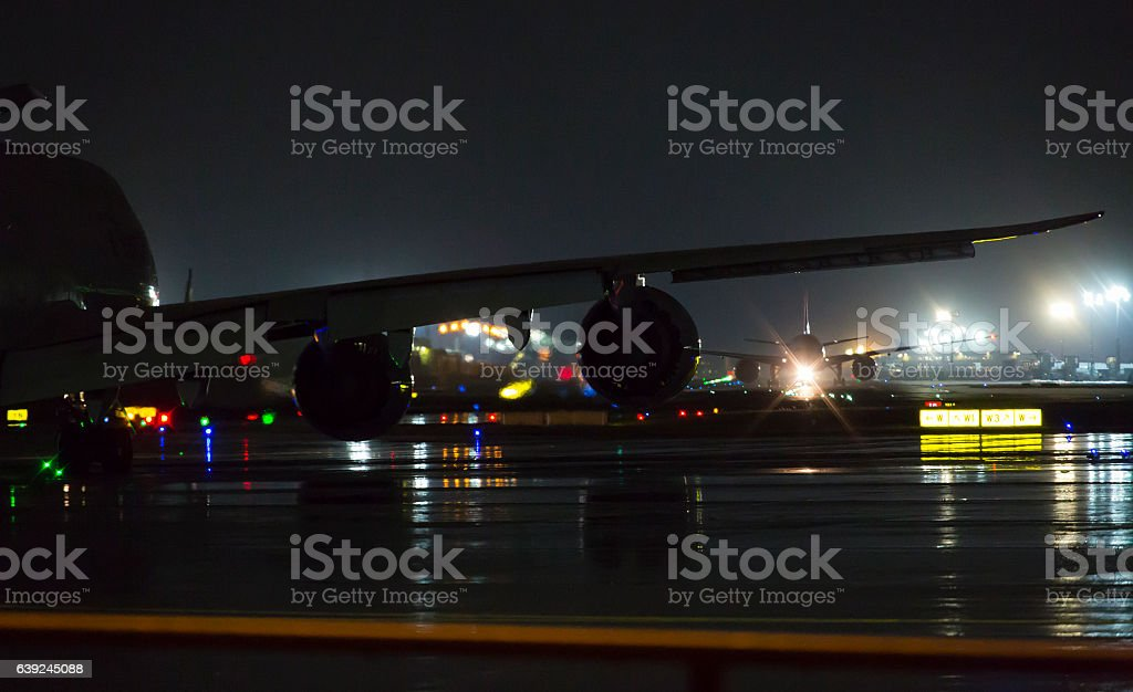 Night at the airport stock photo