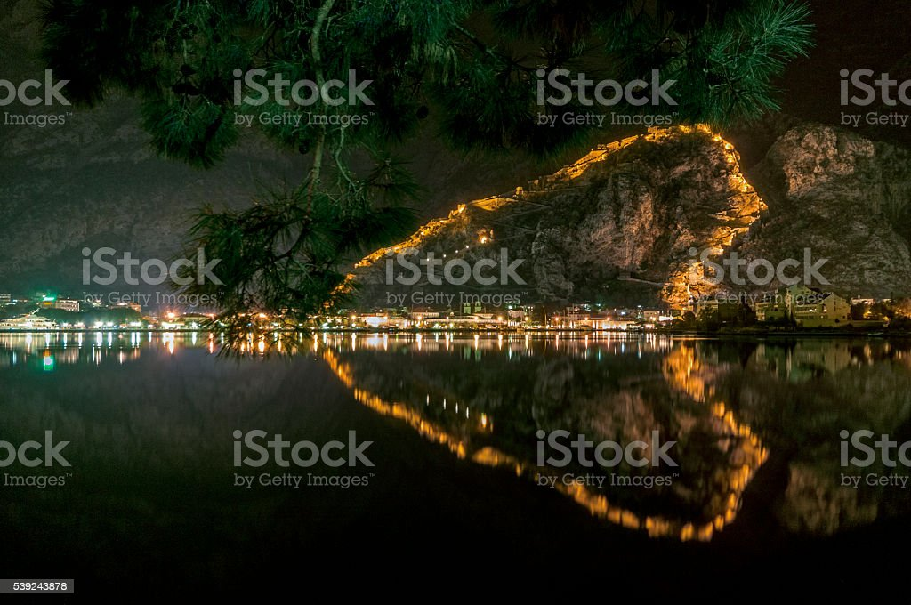 Night at the Bay of Kotor: Kotor Town Reflection stock photo