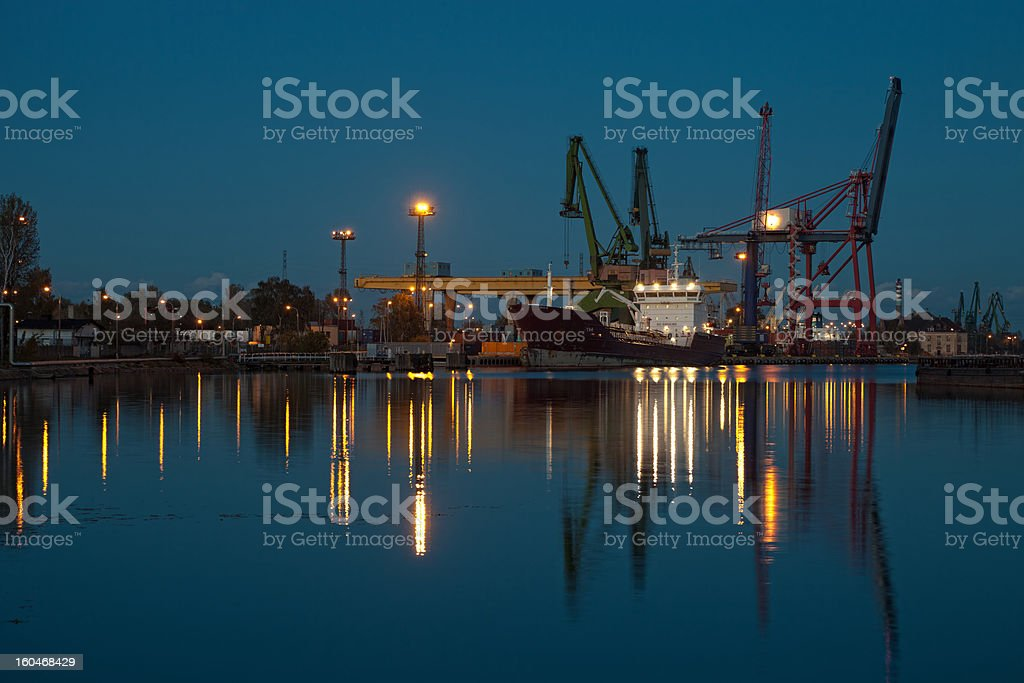 Night at the port royalty-free stock photo