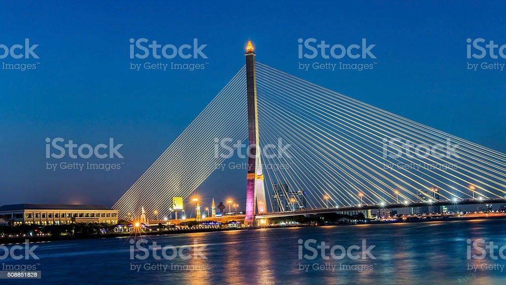 Night at the Rama 8 Bridge, Bangkok, Thailand. stock photo