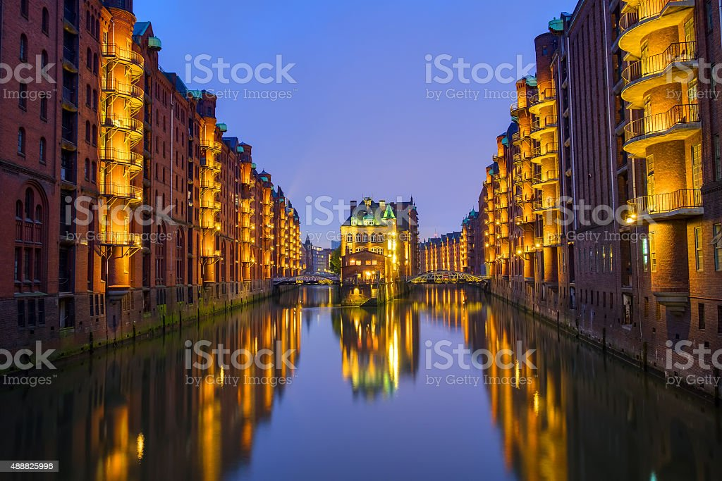 Night at the Speicherstadt stock photo