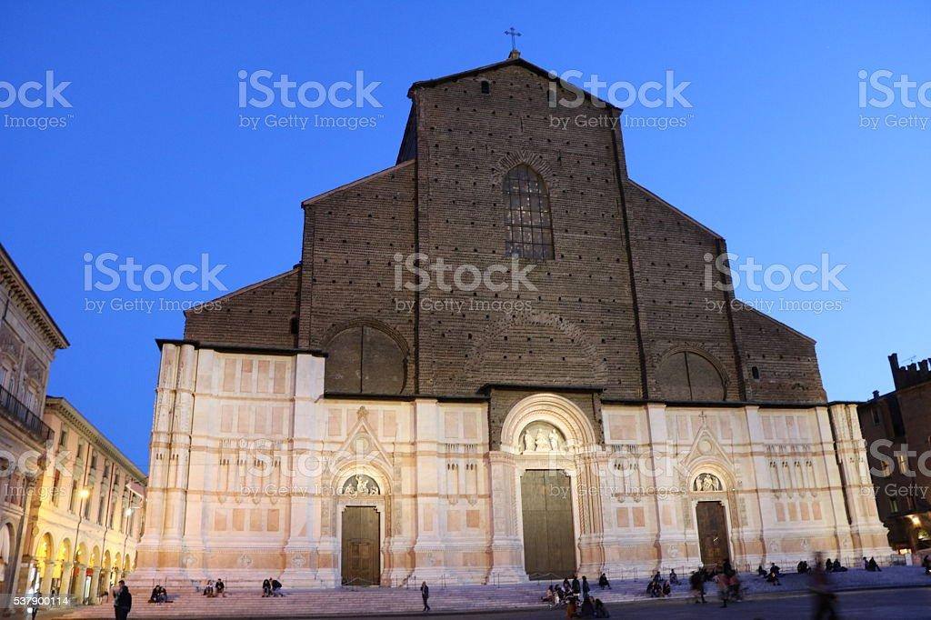 Night Basilica of San Petronio in Piazza Maggiore, Bologna Italy stock photo