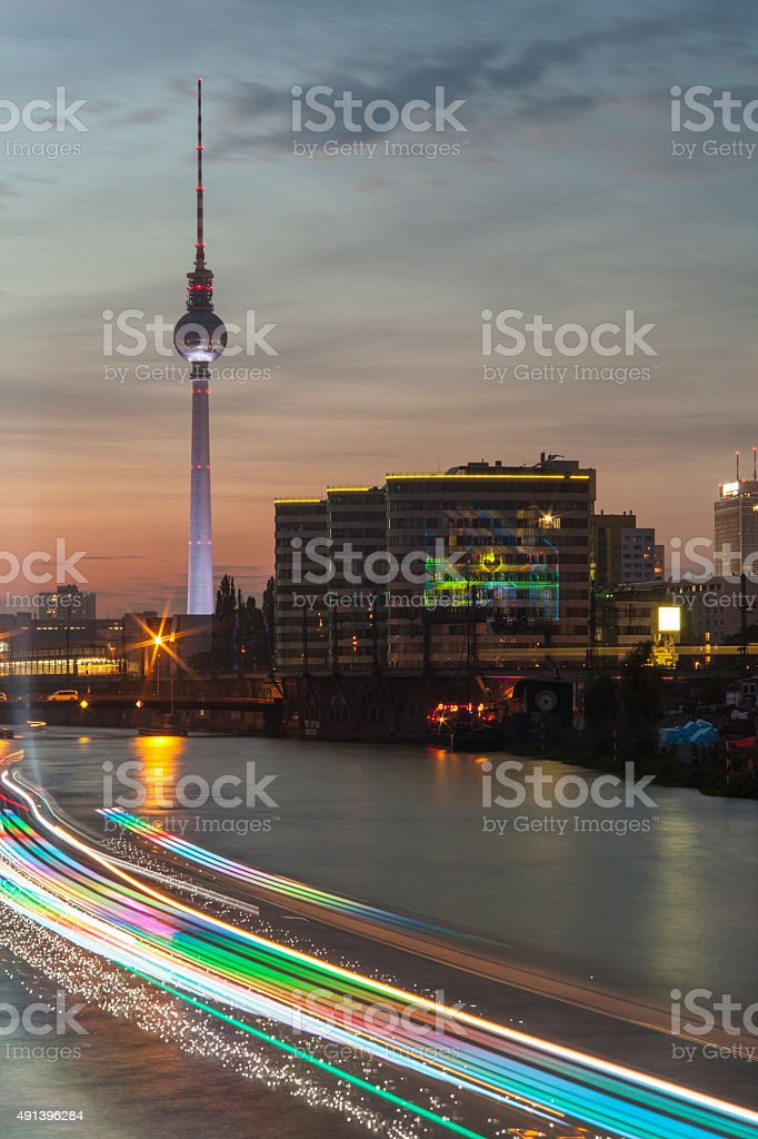night berlin landscape with TV tower stock photo
