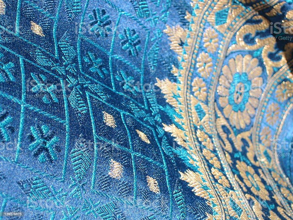 night blue and gold silk sari (woven) royalty-free stock photo