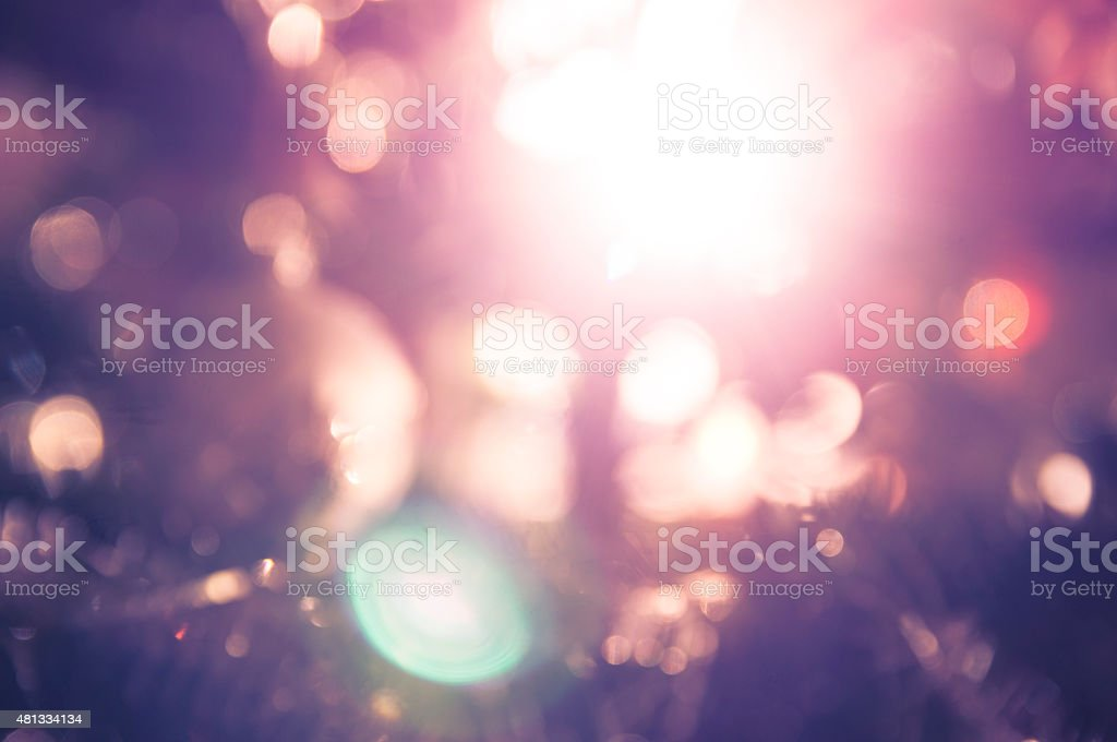 Night blue purple  light bokeh blurred background stock photo