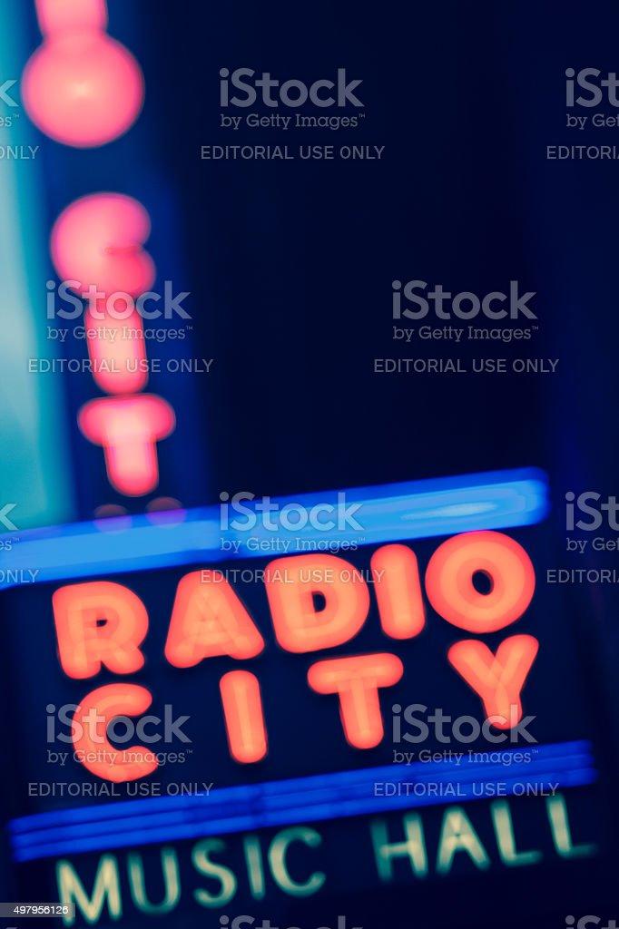 Night blurred and toned view of Radio City Music Hall stock photo
