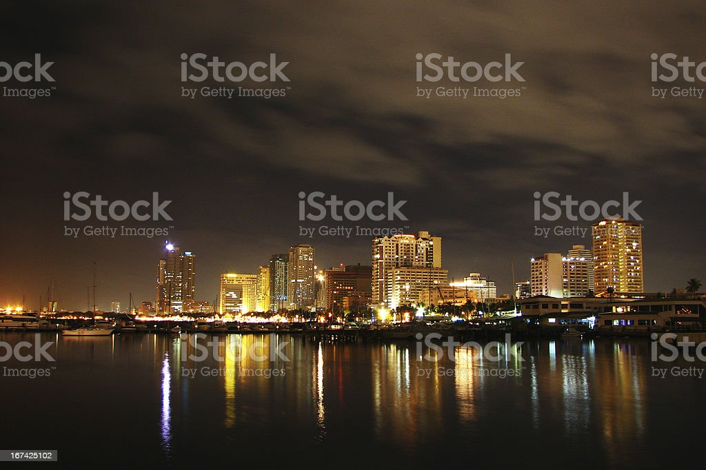 Night Buildings in the Philippines stock photo