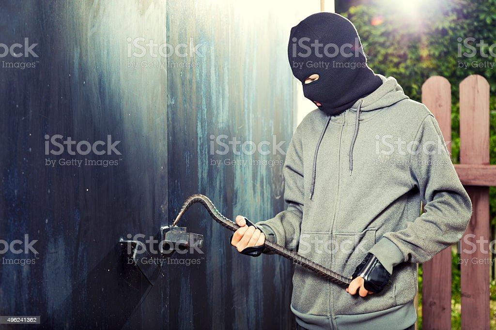 Night burglary garage door stock photo