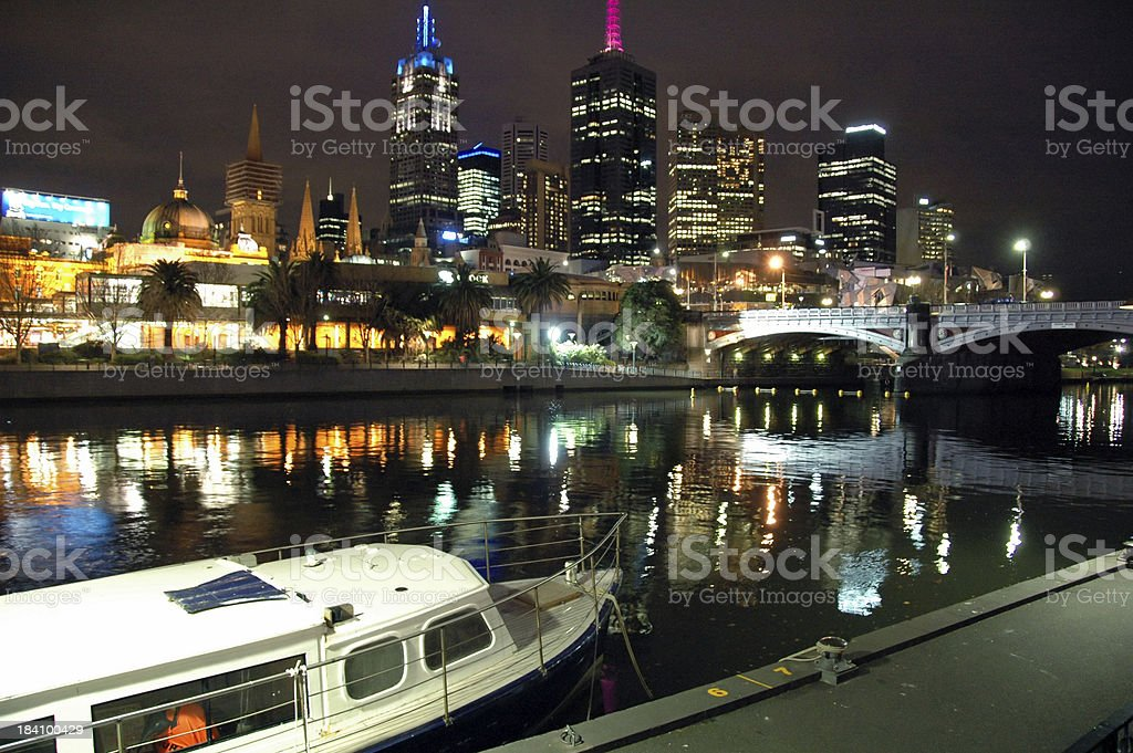 Night by the river in Melbourne royalty-free stock photo