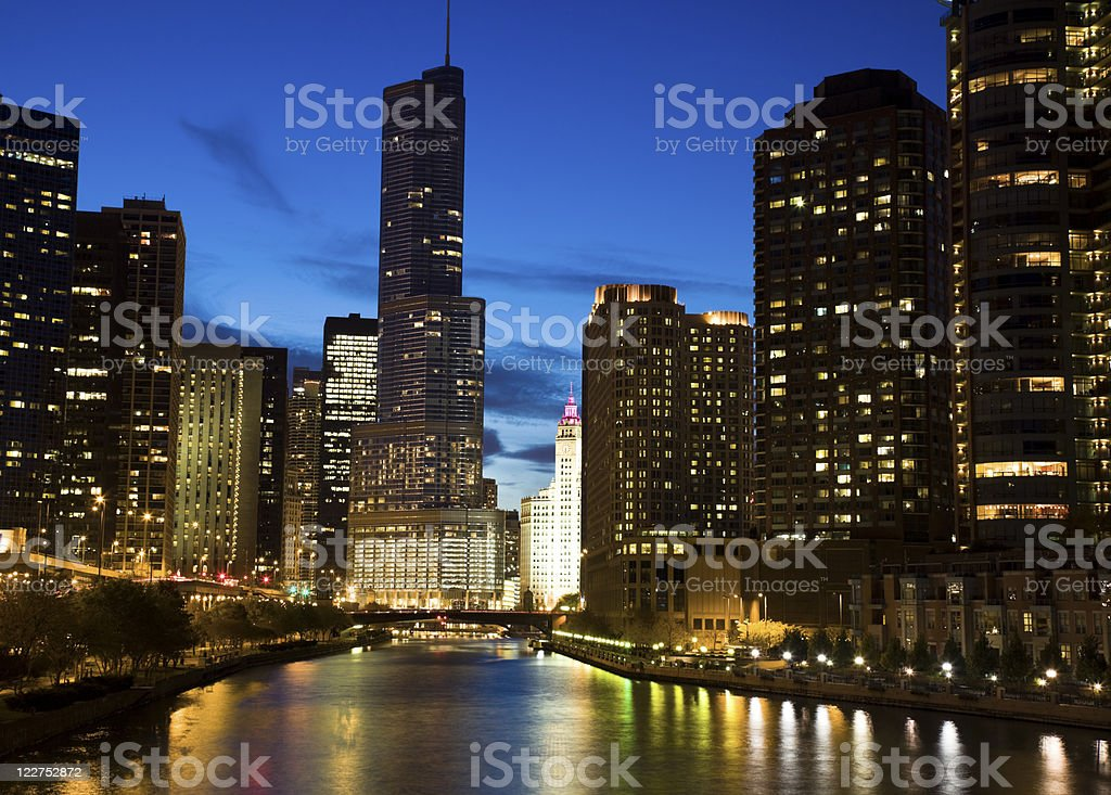 Night by the river stock photo