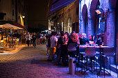 Night cafe scene in Lyon, France