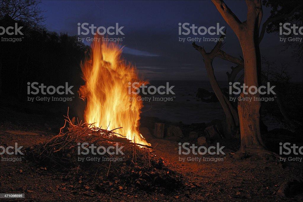 Night campfire royalty-free stock photo