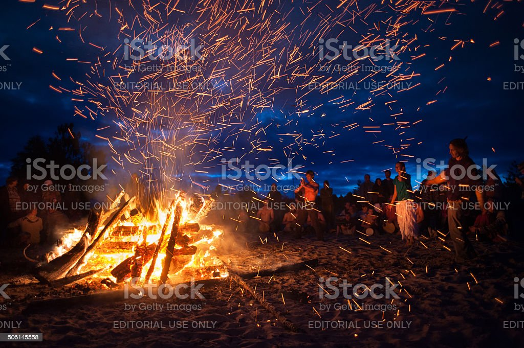 night campfire stock photo