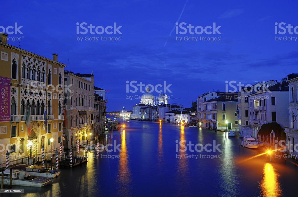 Night Canal with beautiful lights, Venice, Italy (HDR) stock photo