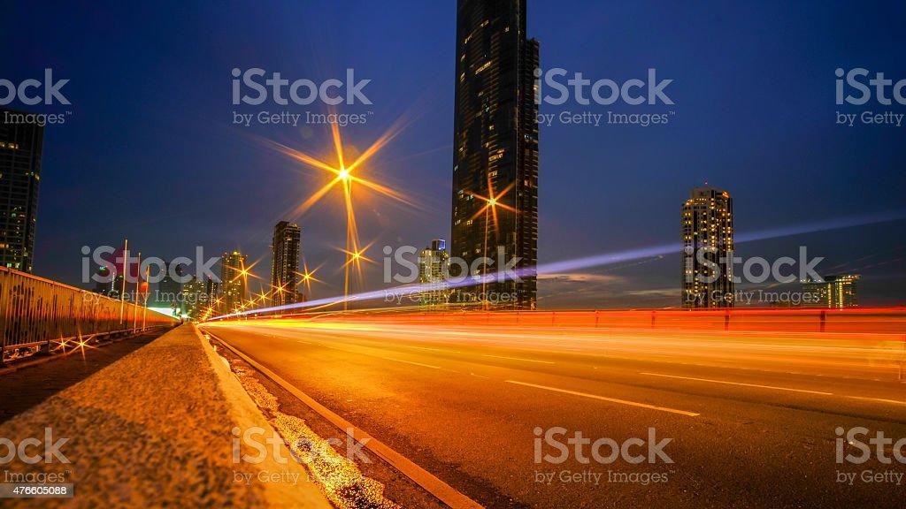 night car lights stock photo